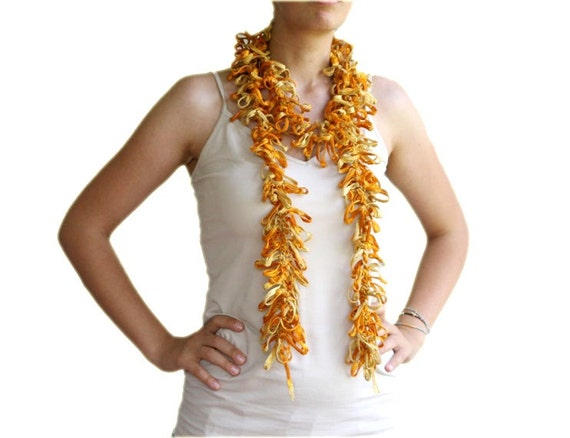 Scarflette in Yellow, Golden Glitters and Mustard - Spring Summer Fall Fashion - Women and Teens Accessories - Frizzy Scarf