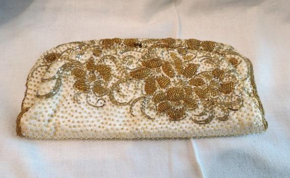 Vintage Beaded Satin Clutch Handbag Purse Formal Prom Quinceanera
