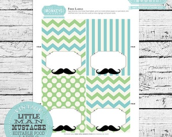 INSTANT DOWNLOAD Little Man Mustache Food Labels Place Cards