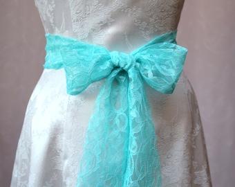 Turquoise Lace Wedding Sash/ Flower Girl Sash/ Handmade Accessory