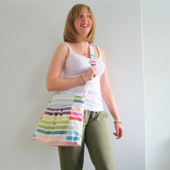 Cross body purse - Across body bag, adjustable strap, Striped Stripey canvas pleated bag/purse Molly. Ready to ship.