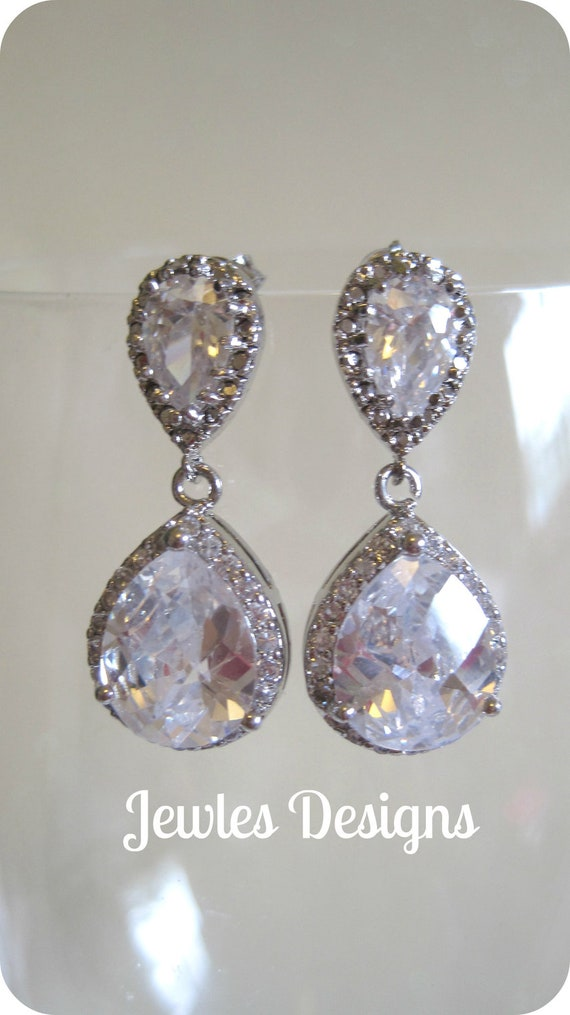 Elegant Bridal Earrings made with cubic Zirconia Crystal and Sterling Silver earring posts, wedding Earrings, bridal Earrings, wedding