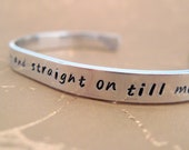 Peter Pan Bracelet - Second Star to the Right - Hand Stamped Cuff in Aluminum, Golden Brass or Sterling Silver  - customizable