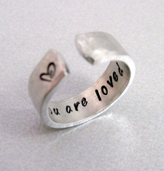 Hammered Secret Message Ring - YOU ARE LOVED- Hand Stamped Aluminum Ring - Customizable
