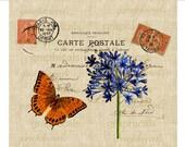 Paris Carte Postale Orange butterfly Blue flower Digital download image for Iron on fabric transfer burlap decoupage pillows No. 1725