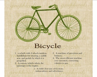 Green bicycle definition Instant Digital download graphic image for Iron on fabric transfer Burlap Decoupage Pillow Papercraft No. 1743