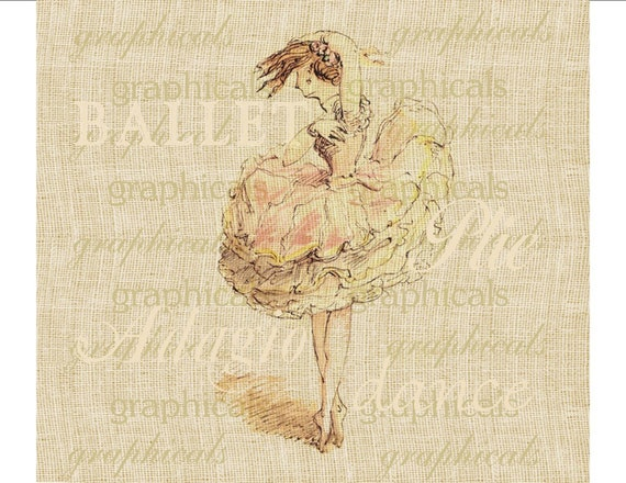Ballet dancer print pink taupe Digital download graphic image for Iron on fabric transfer burlap decoupage pillows cards tote bags No. 1719