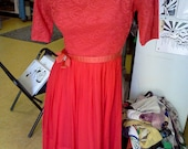 Bright Red Lacey Fitted Dress