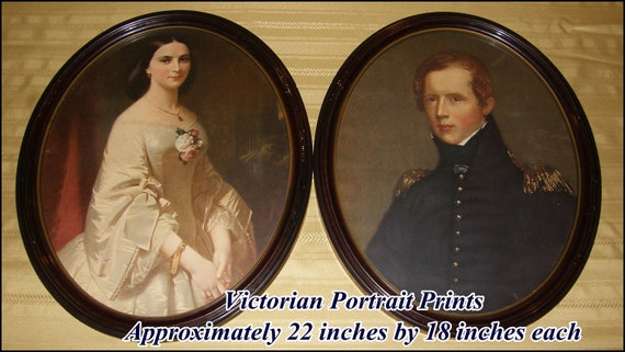 "Vintage Portrait Prints ""Southern Belle"" and Major John Biddle Oval Framed Under Glass They Make A Great Couple"