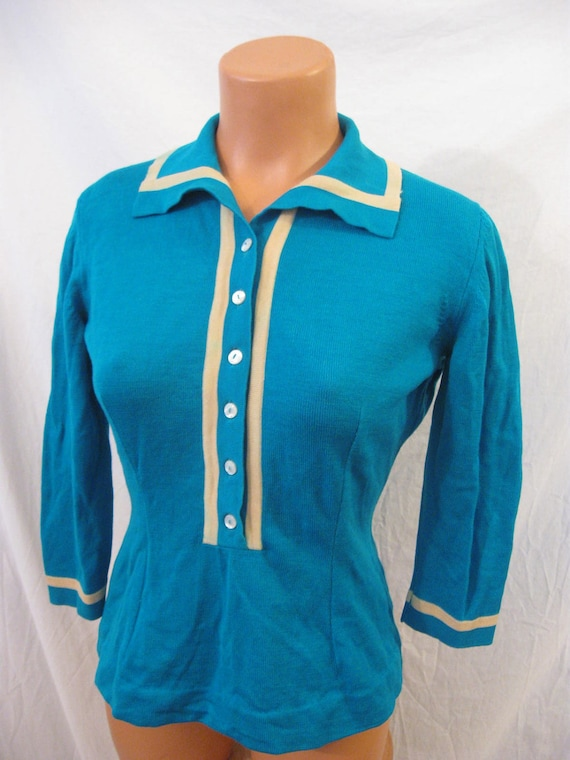LAND AHOY sailor girl fitted knit top sweater Cyrano wool stripe mod hourglass sz 6 8 S