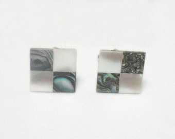Mother of Pearl and Abalone Cuff Links - Vintage
