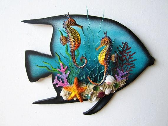 Seahorse art mixed media 3d wall sculpture