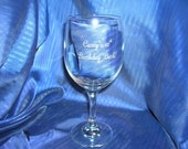 Custom etched wine glass, custom engraved wine glass, personalized wine glass, etched toasting glass, wedding glass, anniversary wine glass