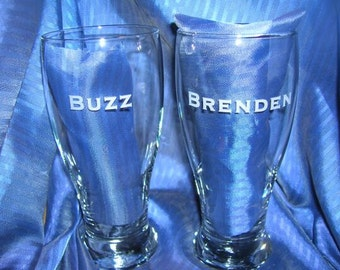 Etched pub glass, engraved pub glass, groomsman glass, beer glass, wedding glass, anniversary glass, custom glass, personalized glass