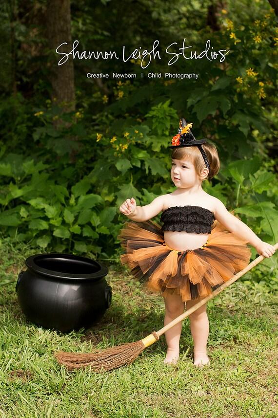 Halloween Costume Tutu Sweet And Spooky Tutu Costume Newborn-2T Black And Orange Tutu With Matching Mini Witch Hat