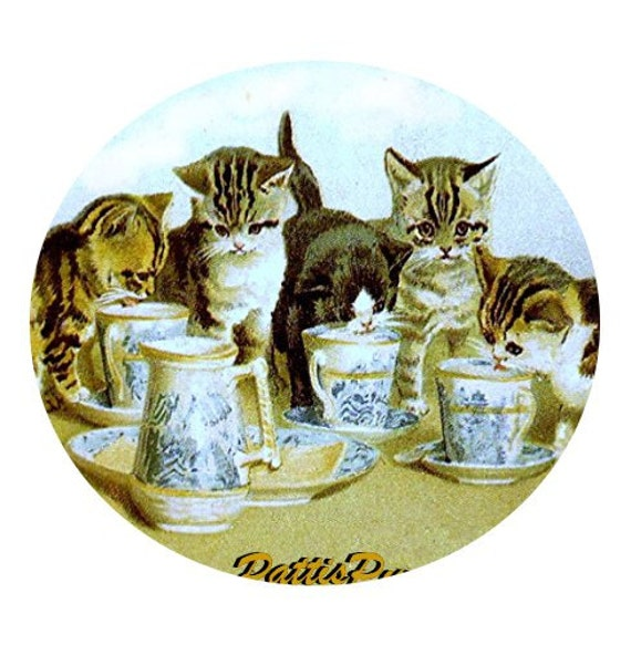 1 1/2 Fabric Cat Button - Kittens at A Tea Party - Ready to Ship