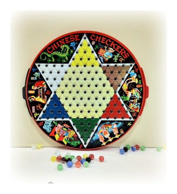 Vintage Chinese Checkers Tin Game Board Pixie Games