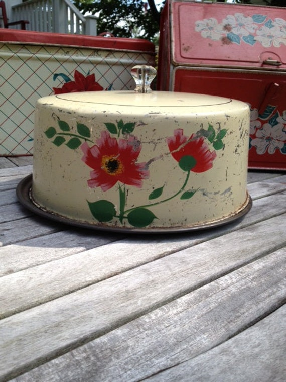 Vintage Cream and Floral Covered Cake Plate Pie Plate Chippy Shabby Glass Knob