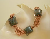 Glass Lampwork Bead and Copper Chainmaille Bracelet