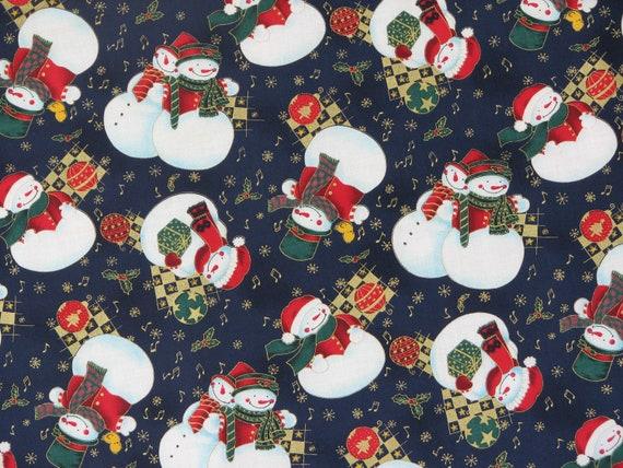 Christmas Fabric Winter Fabric Snowman Fabric Snowman on Navy Blue Background 100% Cotton 'by Tis The Season 1 Yard.