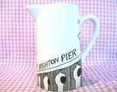 Porcelain Vase or Milk Jug with a hand drawn Brighton Pier Illustration