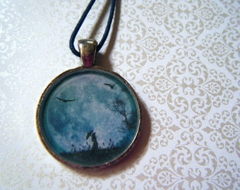 Blue moon resin pendant necklace