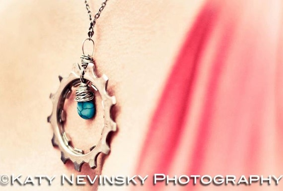Wire Wrapped Stone Bicycle Cog Necklace- reclaimed bicycle parts OOAK, cyclist gift, trail blazer
