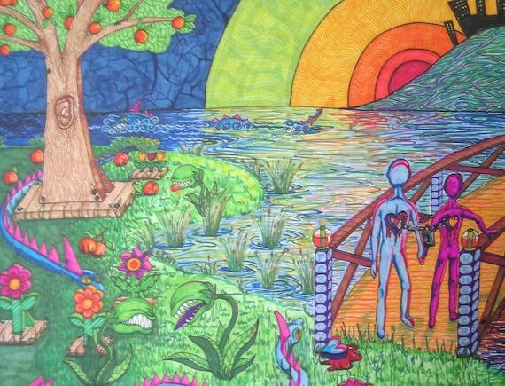 "Eden on Acid, Surrealism, Marker Drawing, Serpent, Garden of Eden, Tree of Knowledge, Adam and Eve, Art Print, 5"" x 7"", Sunset, Bridge"