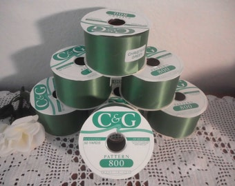 Christmas Green Ribbon Wide Wedding 50 Yard Roll Double Face Acetate Satin 200 Count Water Repellant DIY Christmas in July CIJ Evergreen