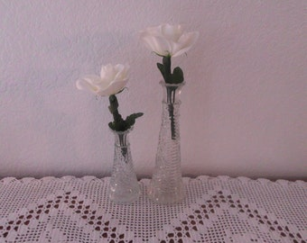 Vintage Glass Vases Ornate Clear Wedding Decoration Instant Collection Set Beach Cottage Country Farmhouse Home Decor Lovely Christmas Gift