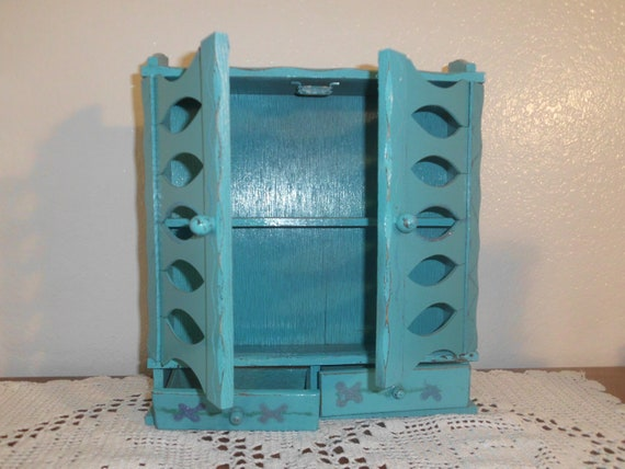 Rustic Aqua Turquoise Teal Spice Cabinet Shabby Chic Distressed Chippy