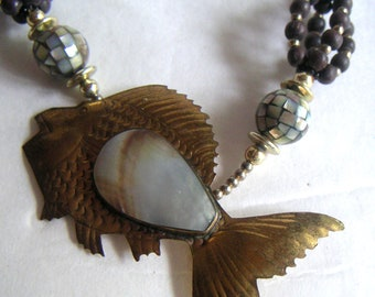 Vintage Fish Necklace with Wooden Beads and Mother of Pearl Beads,  Costume Jewelry, Tropical. FREE Shipping