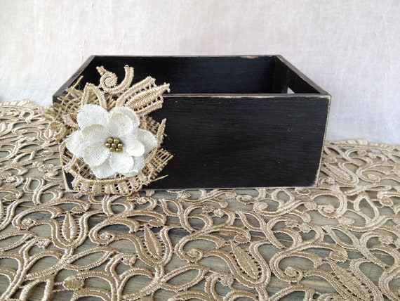 Rustic Black Wooden Flower Girl Basket with Lace and Burlap Embellishment