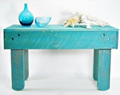 Rustic Reclaimed Painted Wood Coffee Table Turquoise Primitive Hand Made Cottage Beach FREE Shipping