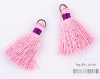 T001-LP// Light Pink, Purple Rayon Tassel Pendant, 4pcs, 40mm x 8mm