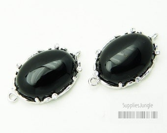 30% SALE// F111-S-BL// Silver plated Framed Black Onyx Stone Connector, 1Pc