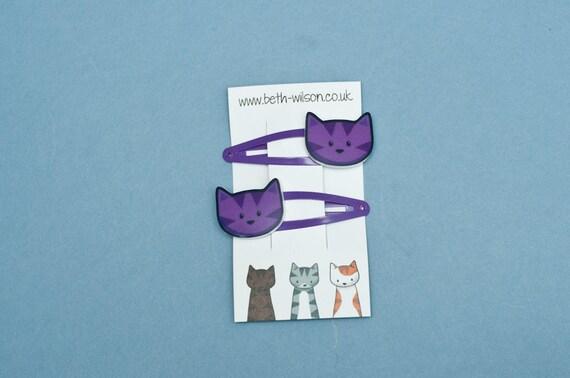 Purple Cat Hair Clips - Pair