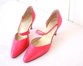 Hot Pink Shoes, 1980s Shoes, Pink Heels, 80s Fashion, Heels, Pumps, Size 9, Costume, Calico Brand
