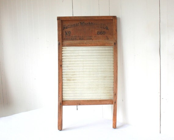 Vintage Washboard, Antique Washboard, Glass Washboard, National Washboard Co, 860, Rustic, Cottage Chic, Farmhouse, Fall, Brown, Wood