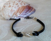 Black Leather Infinity Bracelet Great Layering