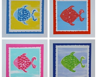 Colorful Fish Note Cards....Free Shipping