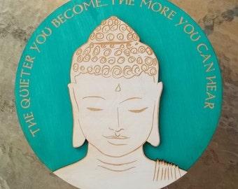Quiet Buddha Wall Art- Aquamarine/ Turquoise