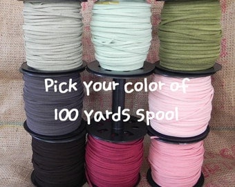 100Yds (90m, 9000cm or 300Ft x 3mm wide) Spool-Faux Suede Cord, Pick your color