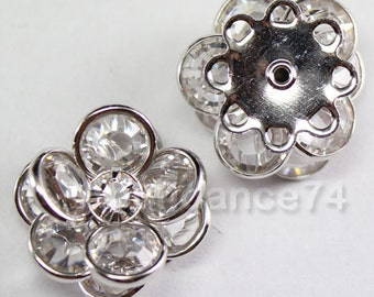Swarovski Crystal 60478 Flower Filigree Finding  with 8 holes - Silver metal, Crystal Clear 14mm