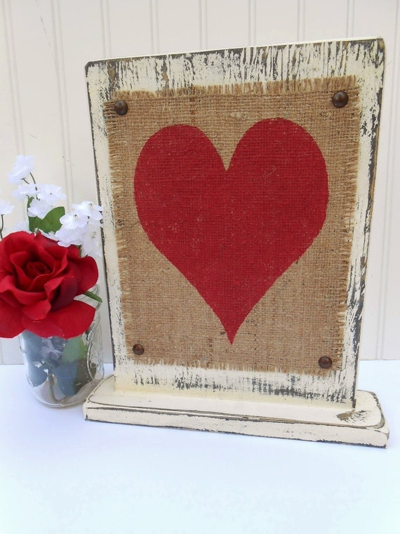 Wedding table sign, sweetheart table decor, heart in red with ivory or white paint, home decor