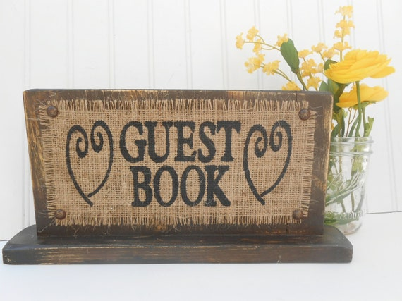Please sign our GUEST BOOK wedding sign with hearts, brown distressed wood, standing decor