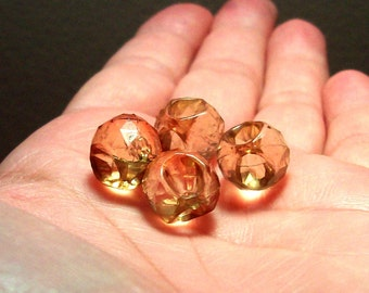 Vintage Lucite Green-Gold Faceted Puffy Onion Briolettes - 12mm - (4)