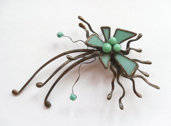 Artistic statement jewelry, stained glass brooch, turquoise beads, copper wire jewelry, contemporary jewelry, funky brooch
