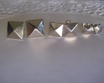 Silver Pyramid Stud Post Earrings