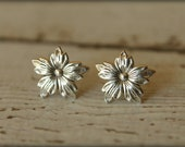 Pointed Petal Flower Earring Posts, Available in Antique Copper and Silver